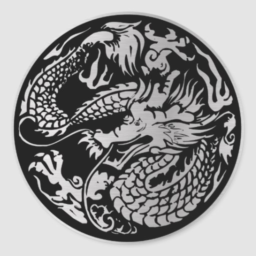 Black and Silver Chinese Dragon Sticker