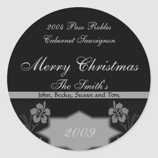 Black and Silver Christmas Wine Labels Round Sticker