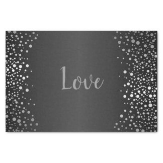 Black and Silver Confetti Dots Tissue Paper