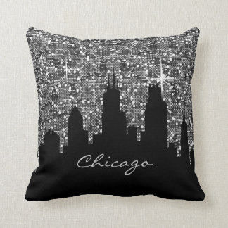 Black and Silver Confetti Glitter Chicago Skyline Cushion
