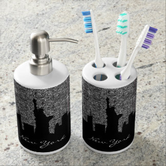 Black and Silver Confetti Glitter New York Skyline Bath Accessory Sets