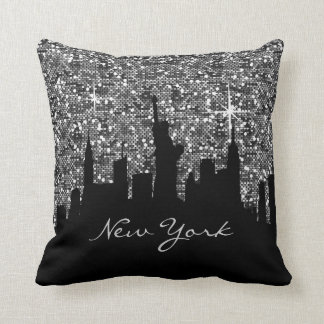 Black and Silver Confetti Glitter New York Skyline Cushion