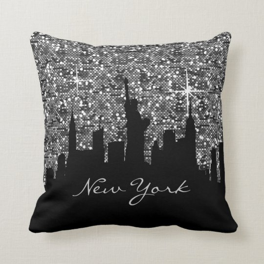 Black and Silver Confetti Glitter New York Skyline