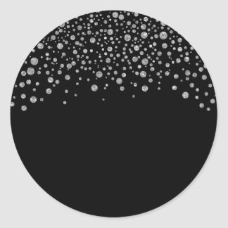 Black and Silver Confetti Round Sticker