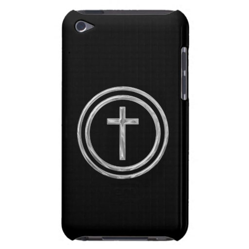 Black and Silver Cross Barely There iPod Cases