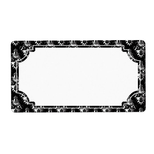 Black and Silver Damask Pattern Shipping Label