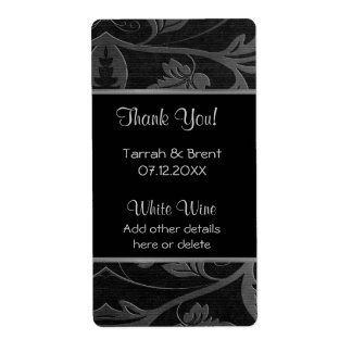 Black and Silver Damask - Wine Label  Medium Shipping Label