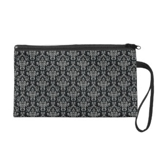 Black And Silver Damask Wristlet Bag