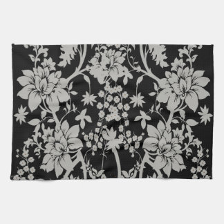 Black and silver dust floral pattern tea towel
