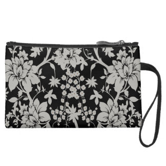 Black and silver dust floral pattern wristlet clutches