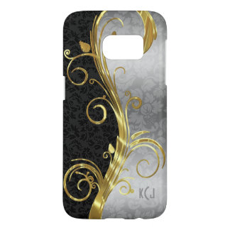 Black And Silver Floral Damask Gold Swirl