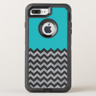 Black and Silver Glitter Chevron iPhone 7 Otterbox OtterBox Defender iPhone 7 Plus Case