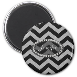 Black and Silver Glitter Chevron Pattern 6 Cm Round Magnet