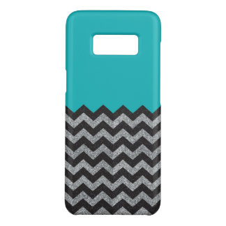 Black and Silver Glitter Chevron Samsung Case