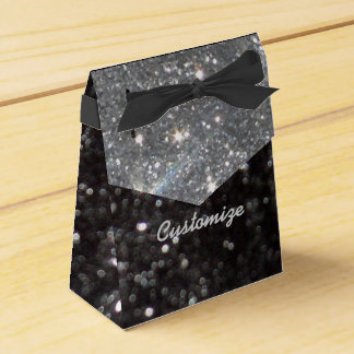 Black and Silver Glitter Favor Box