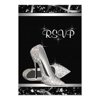 Black and Silver Glitter High Heel Shoe RSVP 9 Cm X 13 Cm Invitation Card