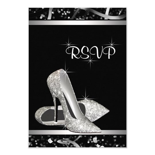 Black and Silver Glitter High Heel Shoe RSVP