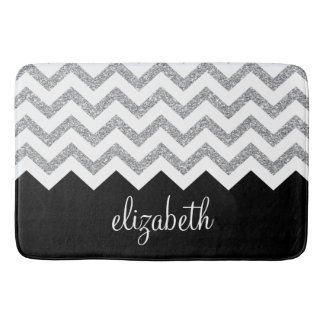 Black and Silver Glitter Print Chevrons and Name Bath Mat