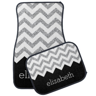 Black and Silver Glitter Print Chevrons and Name Car Mat