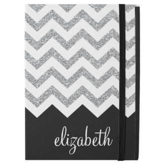 "Black and Silver Glitter Print Chevrons and Name iPad Pro 12.9"" Case"