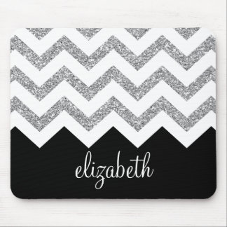 Black and Silver Glitter Print Chevrons and Name Mouse Mat