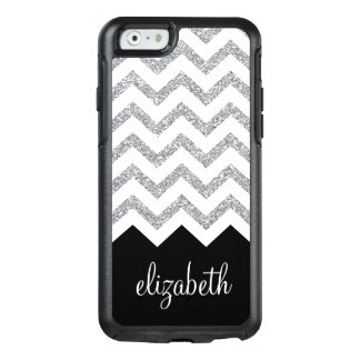 Black and Silver Glitter Print Chevrons and Name OtterBox iPhone 6/6s Case