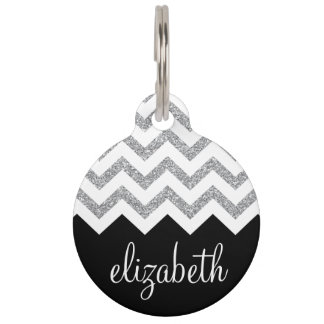 Black and Silver Glitter Print Chevrons and Name Pet Name Tag