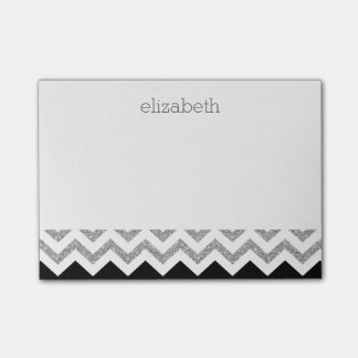 Black and Silver Glitter Print Chevrons and Name Post-it Notes