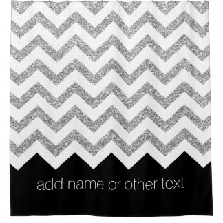 Black and Silver Glitter Print Chevrons and Name Shower Curtain