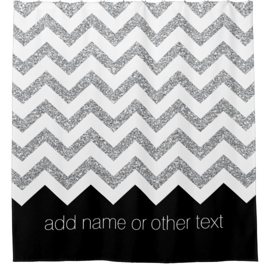 Black And Silver Glitter Print Chevrons Name