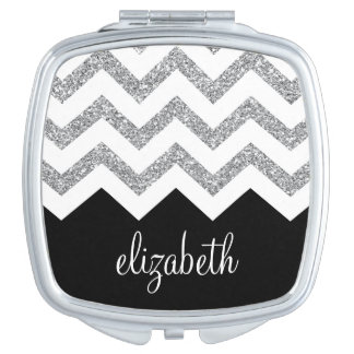 Black and Silver Glitter Print Chevrons and Name Travel Mirror