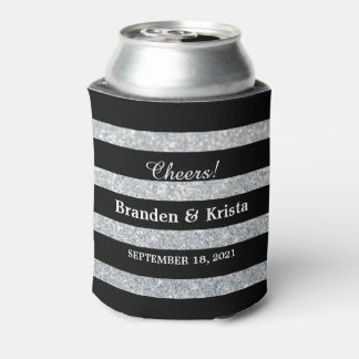 Black and Silver Glitter Stripes | Wedding Can Cooler
