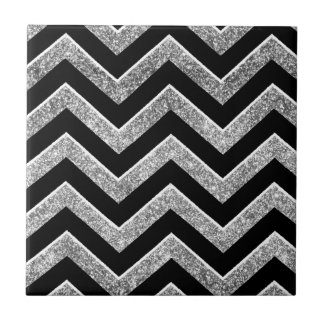 Black and silver glittery  chevron small square tile