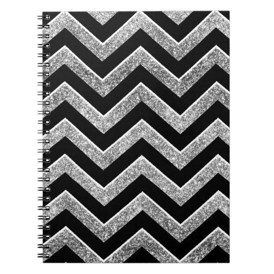 Black and silver glittery  chevron spiral notebook
