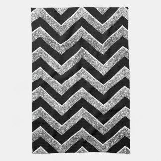 Black and silver glittery  chevron tea towel