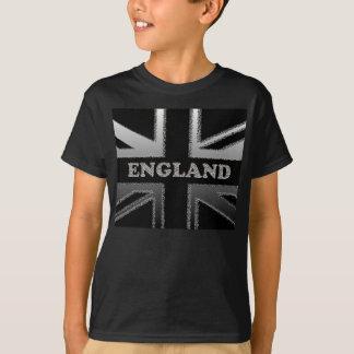 Black and Silver Grey England Union Jack flag T-Shirt