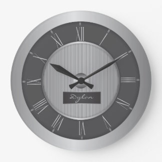 Black and silver grey steel wallclock