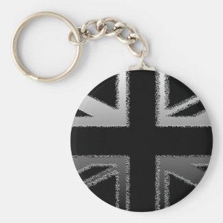 Black and Silver Grey Union jack Flag Key Ring