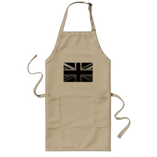 Black and Silver Grey Union jack Flag Long Apron