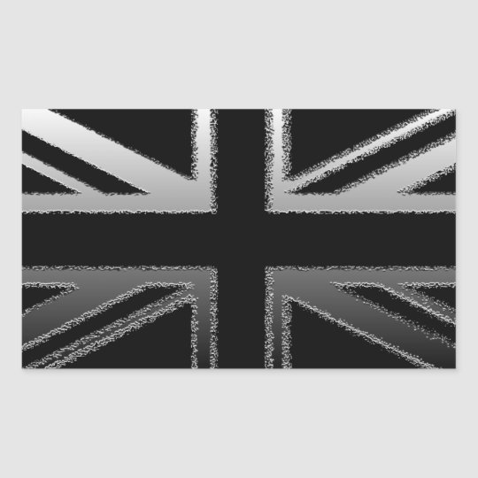 Black and Silver Grey Union jack Flag Rectangular