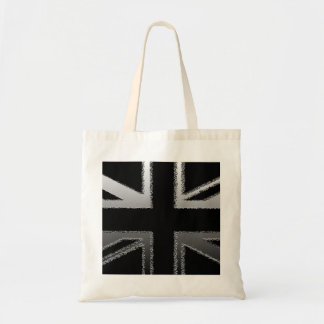 Black and Silver Grey Union Jack Flag Tote Bag