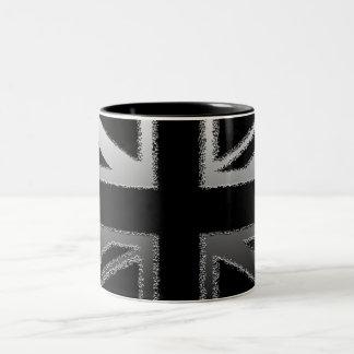 Black and Silver Grey Union jack Flag Two-Tone Coffee Mug