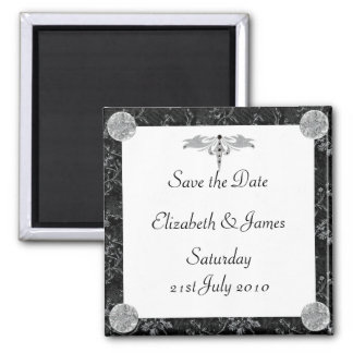 Black and Silver Square Magnet