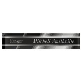 Black and Silver Metallic Diagonal Stripes Name Plate