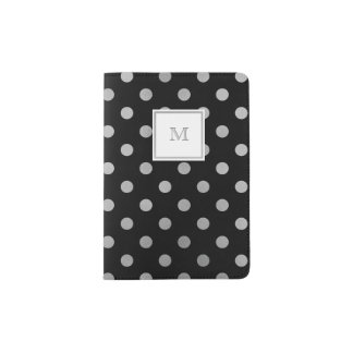 Black and Silver Polka Dot Passport Holder