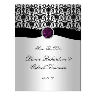 Black and Silver Purple Jewel Save The Date Post Cards