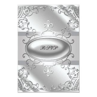 Black and Silver RSVP 9 Cm X 13 Cm Invitation Card
