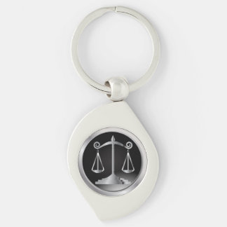 Black and Silver Scales of Justice | Law Key Ring
