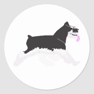Black and Silver Schnauzer Classic Round Sticker