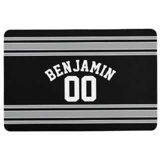 Black and Silver Sports Jersey Custom Name Number Floor Mat